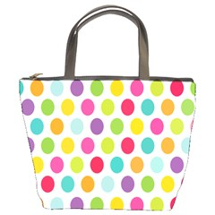 Polka Dot Yellow Green Blue Pink Purple Red Rainbow Color Bucket Bags by Mariart