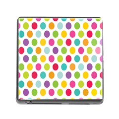 Polka Dot Yellow Green Blue Pink Purple Red Rainbow Color Memory Card Reader (square) by Mariart