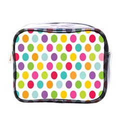 Polka Dot Yellow Green Blue Pink Purple Red Rainbow Color Mini Toiletries Bags by Mariart