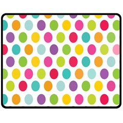 Polka Dot Yellow Green Blue Pink Purple Red Rainbow Color Fleece Blanket (medium)  by Mariart