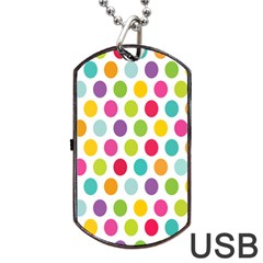 Polka Dot Yellow Green Blue Pink Purple Red Rainbow Color Dog Tag Usb Flash (one Side) by Mariart