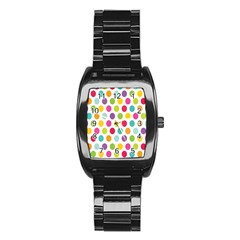 Polka Dot Yellow Green Blue Pink Purple Red Rainbow Color Stainless Steel Barrel Watch by Mariart
