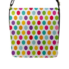 Polka Dot Yellow Green Blue Pink Purple Red Rainbow Color Flap Messenger Bag (l)  by Mariart