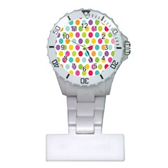 Polka Dot Yellow Green Blue Pink Purple Red Rainbow Color Plastic Nurses Watch by Mariart