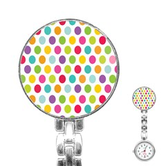 Polka Dot Yellow Green Blue Pink Purple Red Rainbow Color Stainless Steel Nurses Watch by Mariart