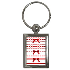 Ribbon Red Line Key Chains (rectangle)  by Mariart