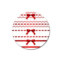Ribbon Red Line Magnet 3  (round) by Mariart