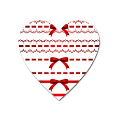 Ribbon Red Line Heart Magnet by Mariart