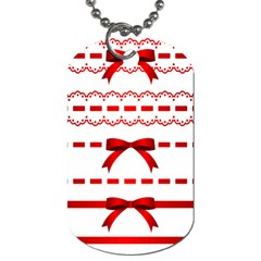 Ribbon Red Line Dog Tag (two Sides) by Mariart
