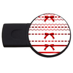 Ribbon Red Line Usb Flash Drive Round (2 Gb) by Mariart