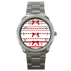 Ribbon Red Line Sport Metal Watch by Mariart