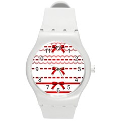 Ribbon Red Line Round Plastic Sport Watch (m) by Mariart
