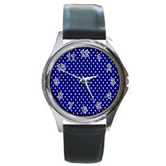 Rainbow Polka Dot Borders Colorful Resolution Wallpaper Blue Star Round Metal Watch by Mariart