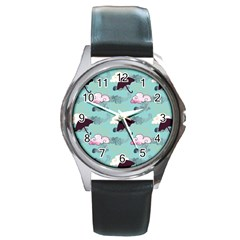 Rain Clouds Umbrella Blue Sky Pink Round Metal Watch by Mariart