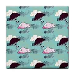 Rain Clouds Umbrella Blue Sky Pink Tile Coasters by Mariart