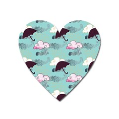 Rain Clouds Umbrella Blue Sky Pink Heart Magnet by Mariart