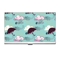 Rain Clouds Umbrella Blue Sky Pink Business Card Holders by Mariart