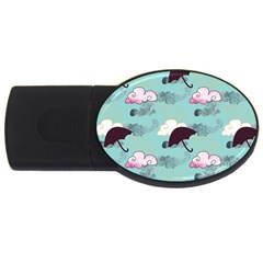 Rain Clouds Umbrella Blue Sky Pink Usb Flash Drive Oval (4 Gb)