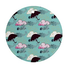 Rain Clouds Umbrella Blue Sky Pink Round Ornament (two Sides) by Mariart