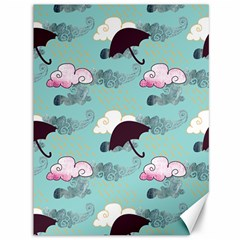 Rain Clouds Umbrella Blue Sky Pink Canvas 36  X 48   by Mariart