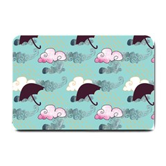 Rain Clouds Umbrella Blue Sky Pink Small Doormat  by Mariart