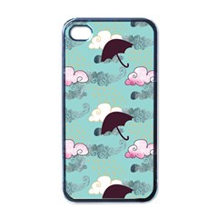 Rain Clouds Umbrella Blue Sky Pink Apple Iphone 4 Case (black) by Mariart