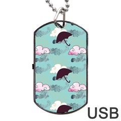 Rain Clouds Umbrella Blue Sky Pink Dog Tag Usb Flash (two Sides) by Mariart