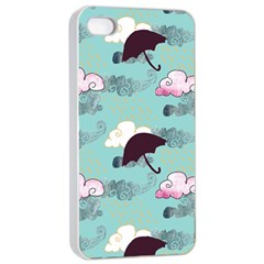 Rain Clouds Umbrella Blue Sky Pink Apple Iphone 4/4s Seamless Case (white) by Mariart