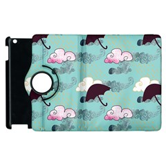 Rain Clouds Umbrella Blue Sky Pink Apple Ipad 3/4 Flip 360 Case by Mariart