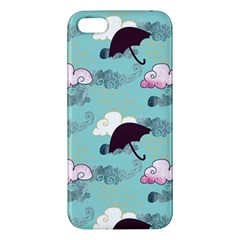 Rain Clouds Umbrella Blue Sky Pink Iphone 5s/ Se Premium Hardshell Case by Mariart