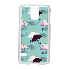 Rain Clouds Umbrella Blue Sky Pink Samsung Galaxy S5 Case (white) by Mariart