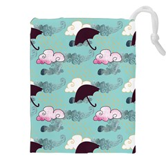 Rain Clouds Umbrella Blue Sky Pink Drawstring Pouches (xxl) by Mariart
