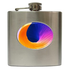 Wave Waves Chefron Color Blue Pink Orange White Red Purple Hip Flask (6 Oz) by Mariart