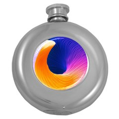 Wave Waves Chefron Color Blue Pink Orange White Red Purple Round Hip Flask (5 Oz) by Mariart