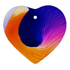 Wave Waves Chefron Color Blue Pink Orange White Red Purple Heart Ornament (two Sides) by Mariart