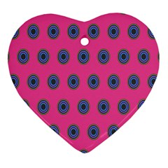 Polka Dot Circle Pink Purple Green Heart Ornament (two Sides) by Mariart