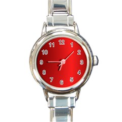 Red Gradient Fractal Backgroun Round Italian Charm Watch by Simbadda