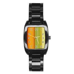 Colorful Citrus Colors Striped Background Wallpaper Stainless Steel Barrel Watch by Simbadda