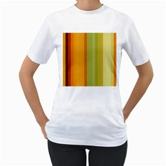 Colorful Citrus Colors Striped Background Wallpaper Women s T Shirt (white)