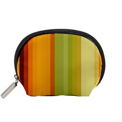 Colorful Citrus Colors Striped Background Wallpaper Accessory Pouches (small)  by Simbadda