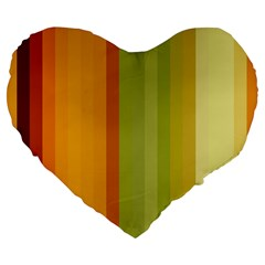 Colorful Citrus Colors Striped Background Wallpaper Large 19  Premium Flano Heart Shape Cushions by Simbadda