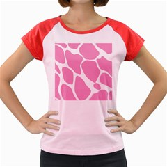 Baby Pink Girl Pattern Colorful Background Women s Cap Sleeve T Shirt