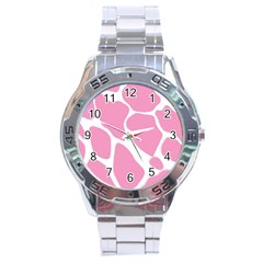 Baby Pink Girl Pattern Colorful Background Stainless Steel Analogue Watch by Simbadda