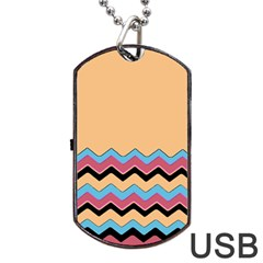 Chevrons Patterns Colorful Stripes Background Art Digital Dog Tag Usb Flash (one Side) by Simbadda