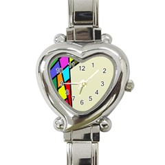 Digitally Created Abstract Page Border With Copyspace Heart Italian Charm Watch by Simbadda