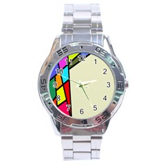 Digitally Created Abstract Page Border With Copyspace Stainless Steel Analogue Watch by Simbadda