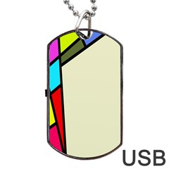Digitally Created Abstract Page Border With Copyspace Dog Tag Usb Flash (two Sides) by Simbadda