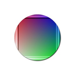3d Rgb Glass Frame Rubber Round Coaster (4 Pack)  by Simbadda