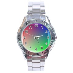 3d Rgb Glass Frame Stainless Steel Analogue Watch by Simbadda