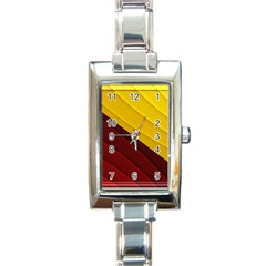 3d Glass Frame With Red Gold Fractal Background Rectangle Italian Charm Watch by Simbadda